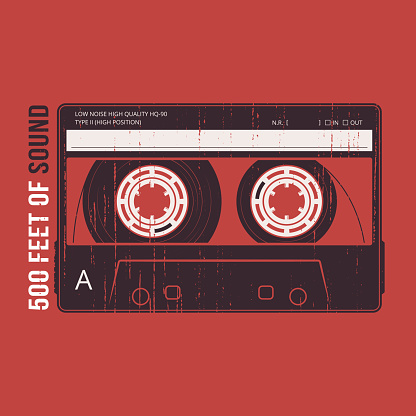 Retro design with a cassette tape. T-shirt and apparel vector print, typography, poster, emblem.