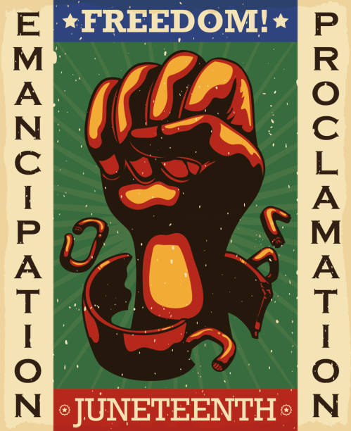 Retro Design with Fist Breaking Chains Promoting Freedom Day Retro Design to celebrate Freedom Day or Juneteenth with fist breaking shackles, representing the liberation of African-American slaves in the U.S.A. with the Emancipation Proclamation. civil rights stock illustrations