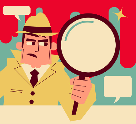 Retro detective (inspector) holding a magnifying glass