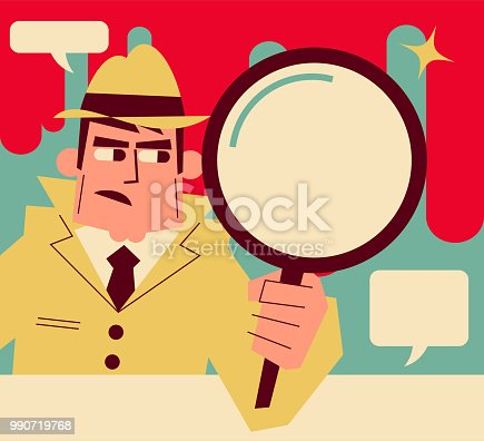 Retro Characters Design, Manga Style ,Cartoon, Vector art illustration, Full Length. Retro detective holding a magnifying glass.