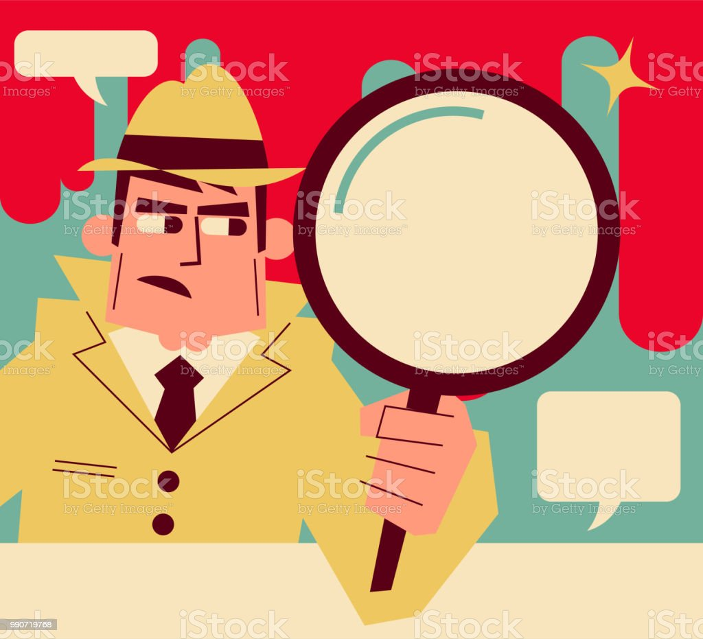 Retro detective (inspector) holding a magnifying glass vector art illustration