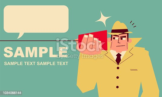 Retro Characters Design, Manga Style ,Cartoon, Vector art illustration. Retro detective (spying man) on paper cup and string phone (tin can phone).
