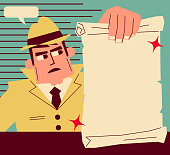 Retro Characters Design, Manga Style ,Cartoon, Vector art illustration, Full Length. Retro detective (inspector) showing a blank paper.
