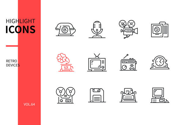 Retro devices - line design style icons set vector art illustration