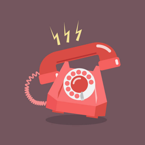 Retro Dial Telephone are Ringing vector art illustration