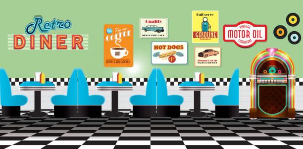 Panorama de retro comedor restaurante con cabinas y jukebox - ilustración de arte vectorial