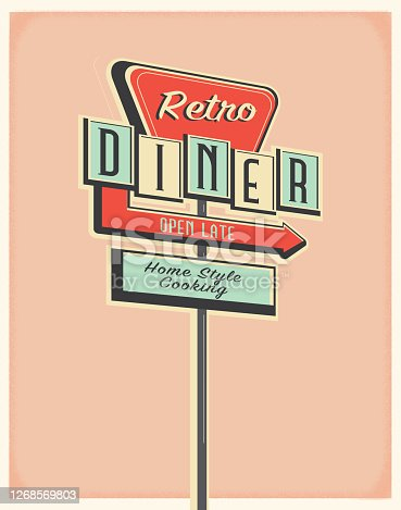 istock Retro Diner roadside sign poster design 1268569803