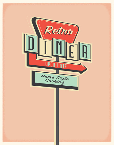 Vector illustration of a Retro Diner roadside sign poster design. Retro color scheme with texture around edge. Includes text design. Royalty free vector eps 10. Fully editable.