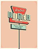 istock Retro Diner roadside sign poster design 1268569803