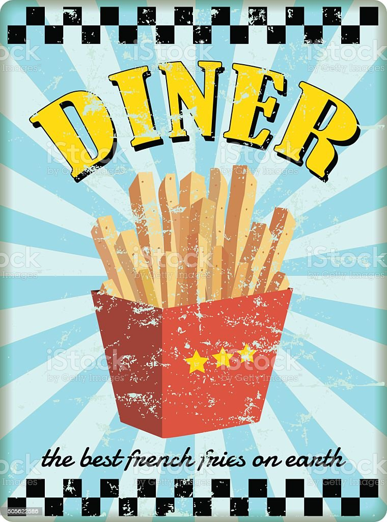 retro diner sign, with french fries vector art illustration