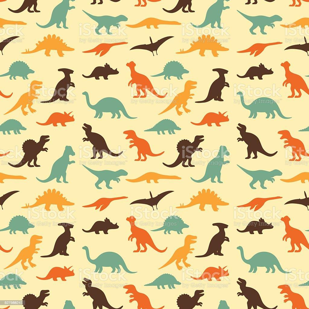 retro dinosaur pattern vector art illustration