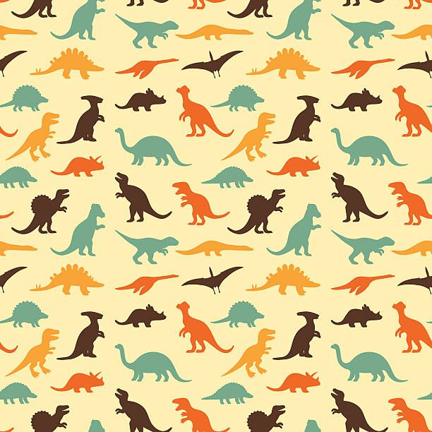 retro dinosaur pattern - dinosaur stock illustrations, clip art, cartoons, & icons