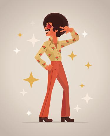 Retro disco dancer character