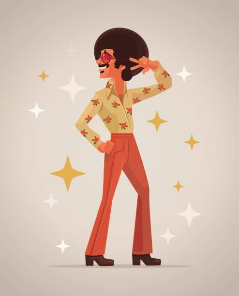 retro disco dancer character - old man glasses stock illustrations, clip art, cartoons, & icons