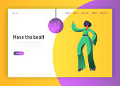 Retro Disco Dancer Character Website Template. Dancing Woman Lifestyle. Nightlife Event Concept for Website or Web Page. Evening Club Party. Flat Cartoon Vector Illustration