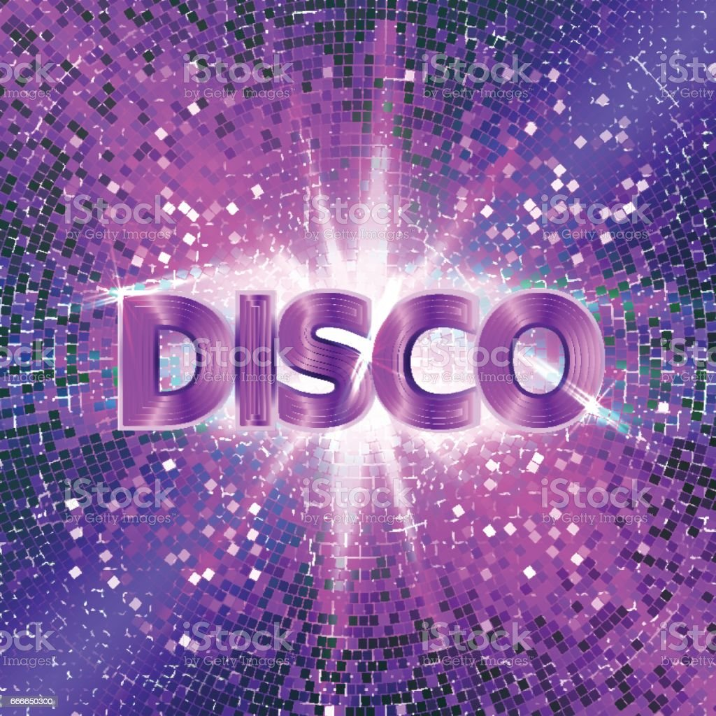 Retro Disco party background with sparkles and glitter, glow light effect. Vector illustration. vector art illustration