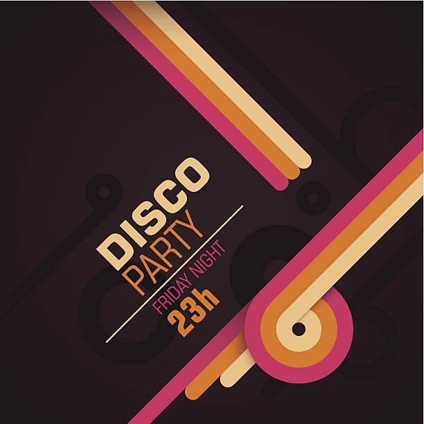 bildbanksillustrationer, clip art samt tecknat material och ikoner med retro disco party invitation card. - dansa disco
