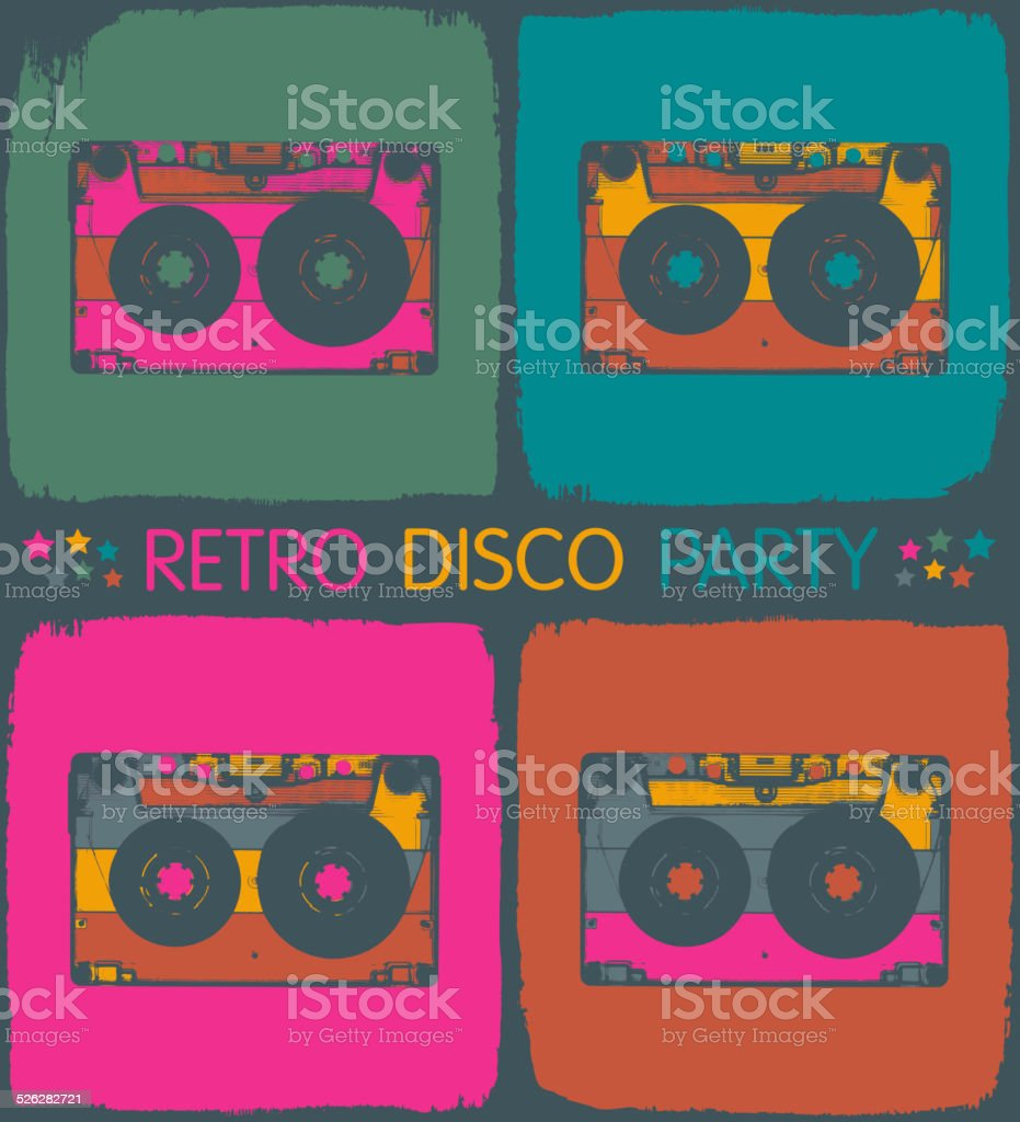 Retro disco party invitation in pop-art style. Vector, EPS8 vector art illustration