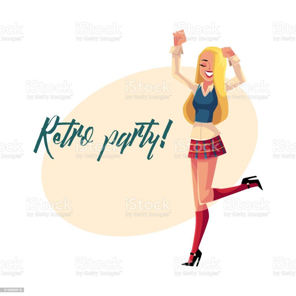 cdff4e9b2863 Retro Disco Party Invitation Poster With Woman In 90s Clothes Stock ...