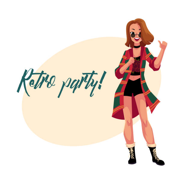 retro disco party invitation, poster with woman in 90s clothes - plaid shirt stock illustrations
