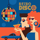 Retro disco party. Vector illustration, poster in retro style. Guy and girl wearing sunglasses at the disco. Girl holding a cocktail. Hanging disco ball.