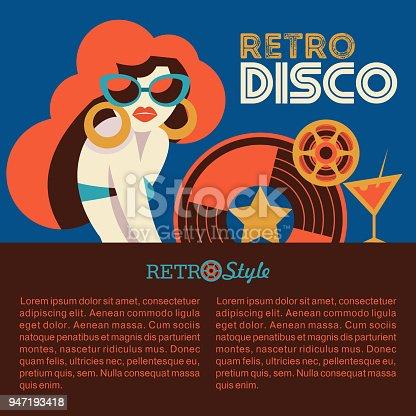 Retro disco party. Vector illustration.
