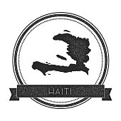 Retro distressed Haiti badge with map.