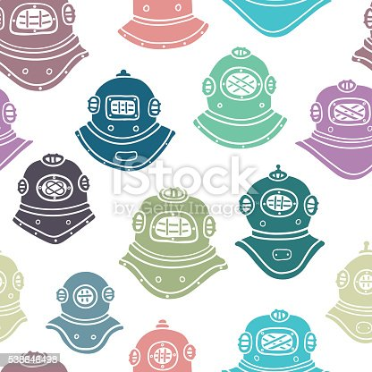 Colorful vector bsckground with retro diving helmets
