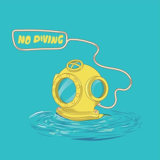 illustrazioni stock, clip art, cartoni animati e icone di tendenza di retro diving suit helmet - frogman