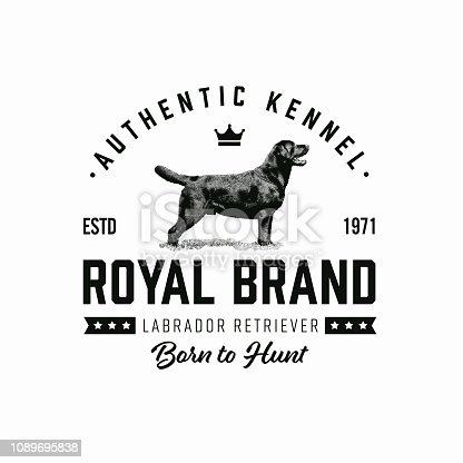 Retro dog badge template. Vector illustration.