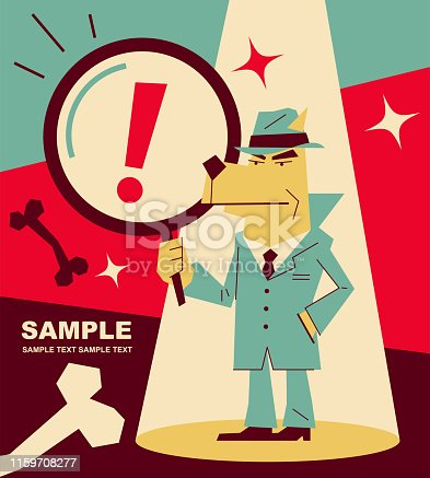 Unique Characters Full Length Vector art illustration. Retro dog detective (inspector) holding a magnifying glass.