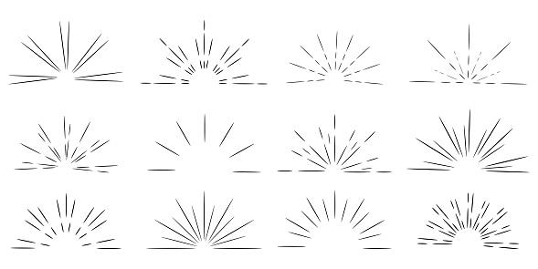 Retro doodle illustration with sunrise by hand on light background. Black-white sunburst. Vector image. EPS 10.