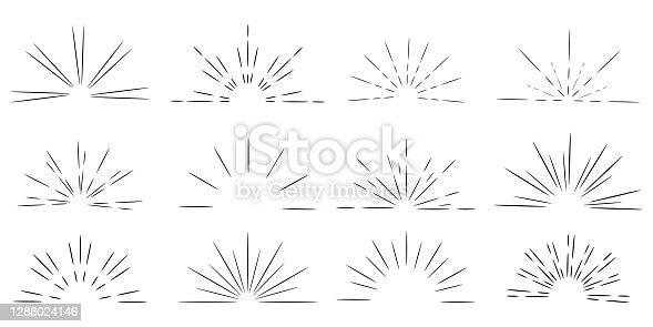 istock Retro doodle illustration with sunrise by hand on light background. Black-white sunburst. Vector image. EPS 10. 1288024146