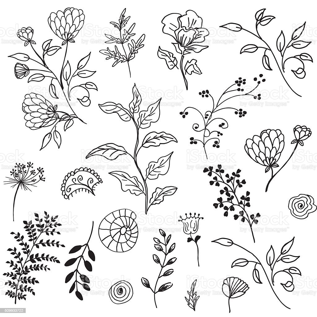 Retro Doodled decorative Plant Elements royalty-free retro doodled decorative plant elements stock vector art & more images of black and white