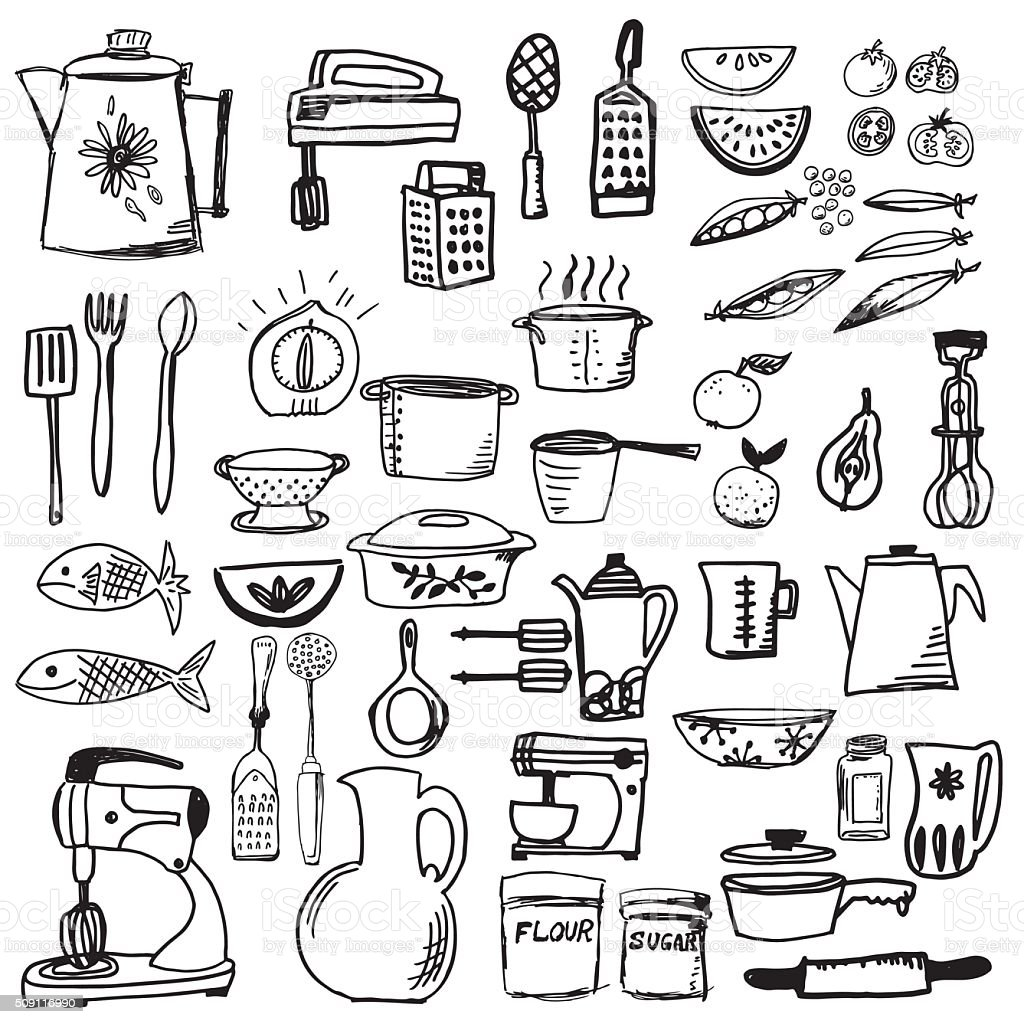 Retro Doodled Kitchen Gadgets and Cookware vector art illustration