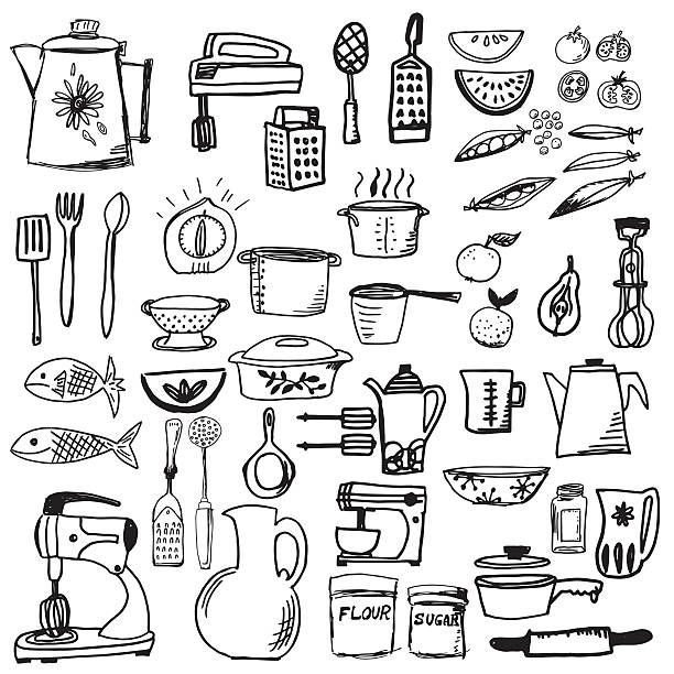 Retro Doodled Kitchen Gadgets and Cookware Retro Doodled Kitchen Gadgets and Cookware . Large set of cooking pots, utensils and serving dishes. cooking black and white stock illustrations