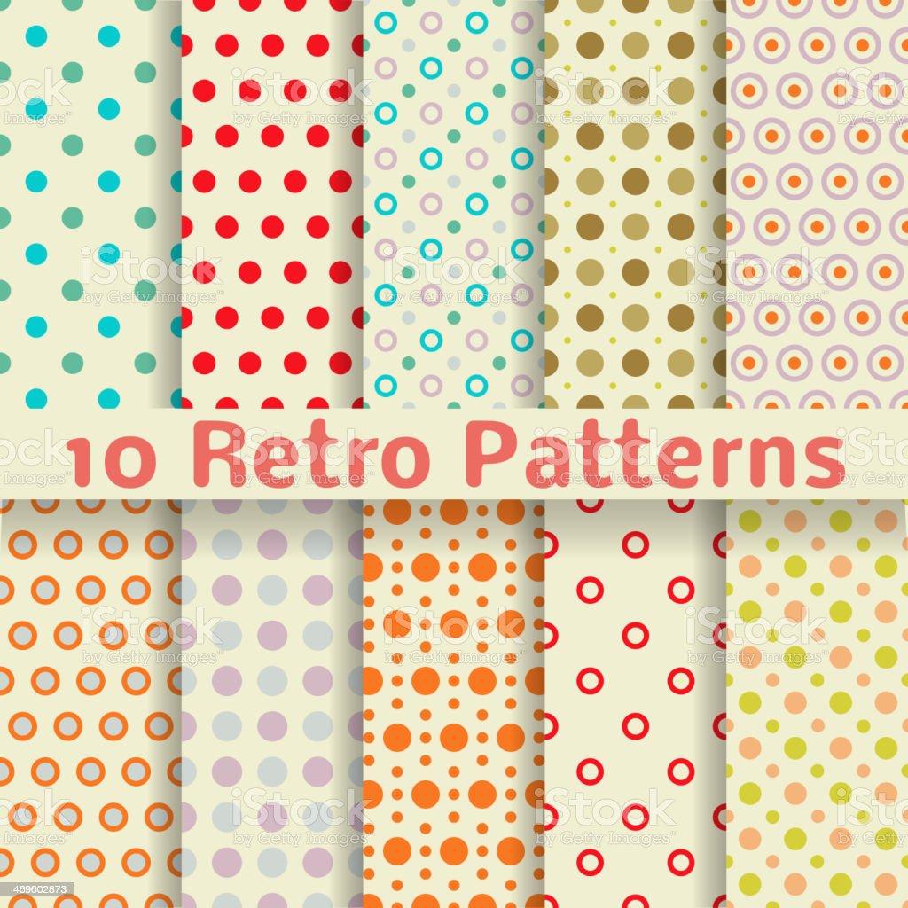 Retro dot vector seamless patterns (tiling). vector art illustration