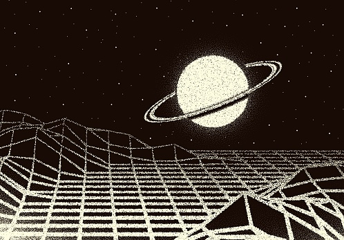 Retro dotwork landscape with 80s styled laser grid, planet and stars background from old sci-fi book or poster