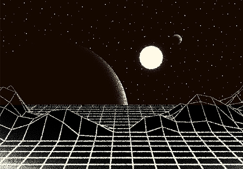 Retro dotwork landscape with 80s styled laser grid, planet, sun and stars background from old sci-fi book or poster