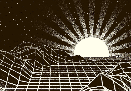 Retro dotwork landscape with 80s styled sun rays, laser grid and stars background from old sci-fi book or poster
