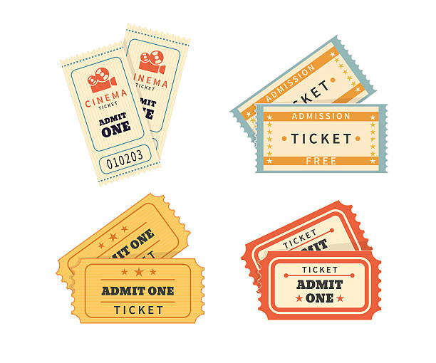 Retro double  tickets set Retro double tickets set. Temlates for cinema and other events. Text outlined obsolete stock illustrations