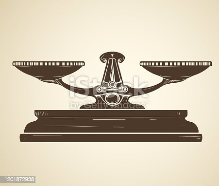 Retro drawing of antique scales in sepia tones in the form of linocut on a sepia background