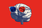 Monochrome blue retro engraving human brain with stereoscopic 3d eyeglasses vector illustration in front view isolated on red background
