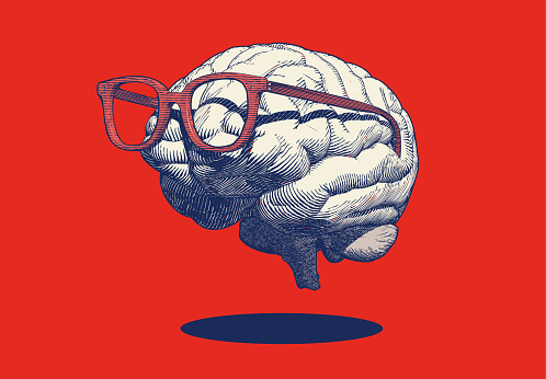 Monochrome blue retro pop art engraving human brain with eye glasses vector illustration in side view isolated on red background