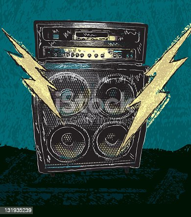Retro vector drawing of a large guitar amplifier with two lightning bolts on a textured grunge background. Lightning bolts symbolize loud rock music. Perfect for rock concert poster with copy space available at bottom. Download includes png file.