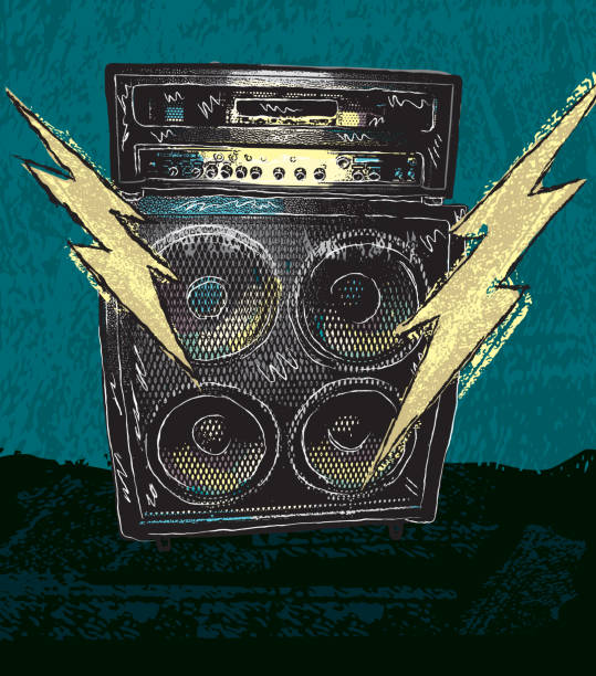 Retro drawing of guitar amplifier with lighting bolts Retro vector drawing of a large guitar amplifier with two lightning bolts on a textured grunge background. Lightning bolts symbolize loud rock music. Perfect for rock concert poster with copy space available at bottom. Download includes png file. rock music stock illustrations