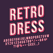 Retro dress 3d vector lettering. Vintage bold font. Pop art stylized text. Old school style letters, numbers, symbols pack. 90s poster, banner, signboard typography design. Purple color background