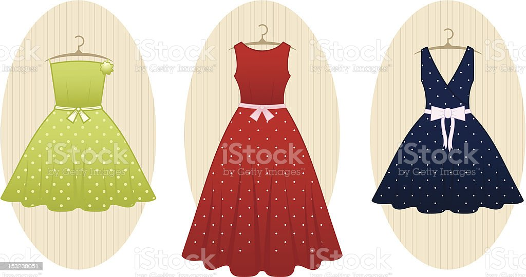 Retro Dresses vector art illustration