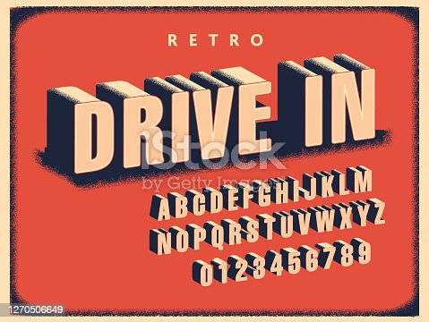 istock Retro Drive In Movie font alphabet set 1270506649