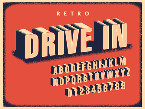 Vector illustration of a retro Drive In Movie title screen font alphabet collection. Easy to edit to customize your own headline or message. Includes vector eps and jpg in download.